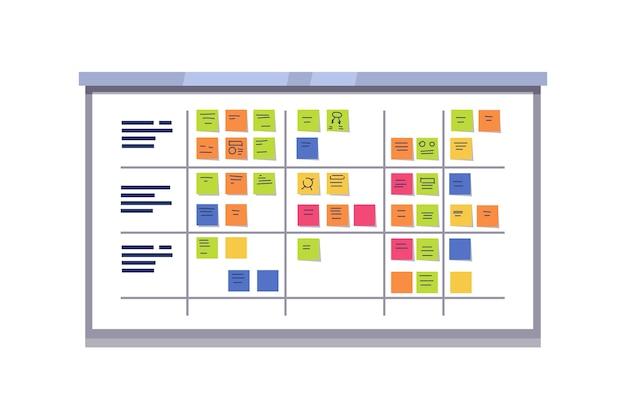 White scrum board cheio de tarefas em cartões pegajosos Vetor grátis