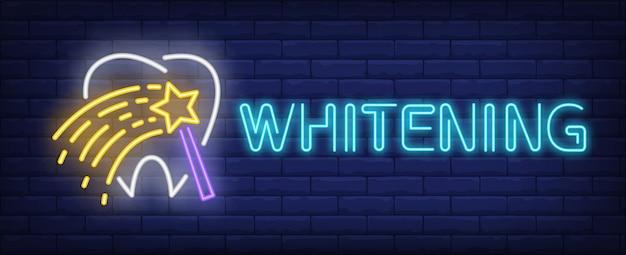 Whitening texto de néon com dente e varinha mágica Vetor grátis