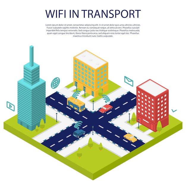 Wi-fi em banner de conceito público de transporte, estilo isométrico Vetor Premium