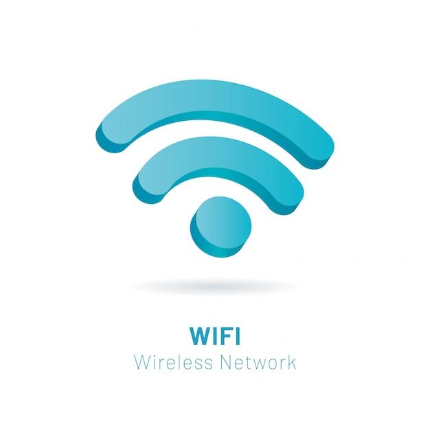 Wi fi wireless network 3d símbolo, ilustração vetorial Vetor Premium