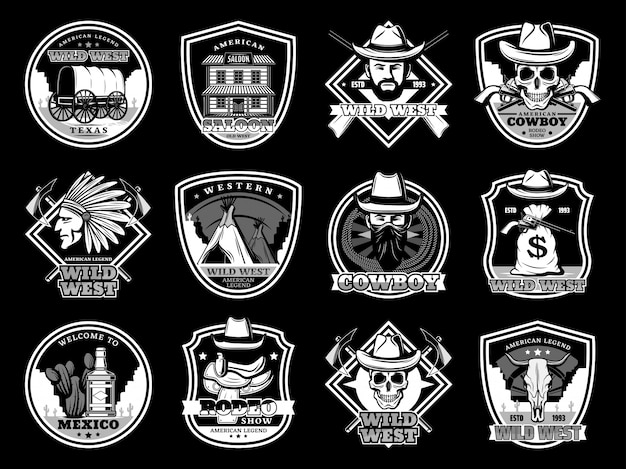 Wild west cowboy e xerife crânios, chapéus e armas distintivo e logotipo conjunto Vetor Premium