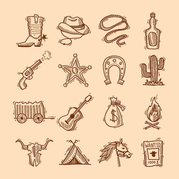 Wild west cowboy mão desenhada conjunto com sela sheriff emblema ferradura isolado ilustração vetorial Vetor grátis