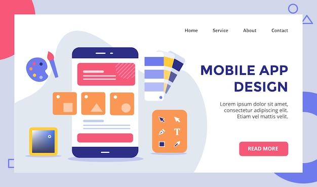 Wireframe de aplicativo móvel em campanha de smartphone para banner de modelo de página inicial de página inicial de site da web com moderno Vetor Premium
