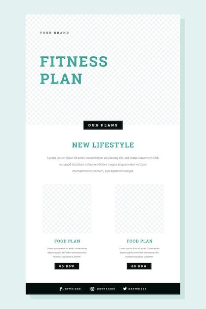 Wireframe de e-mail de fitness criativo Vetor grátis
