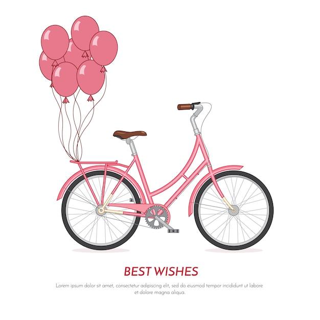 Withballoons retros cor-de-rosa da bicicleta unidos ao tronco. bicicleta de cor vintage em fundo branco Vetor Premium
