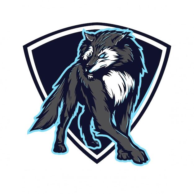 Wolf for e sport logo Vetor Premium