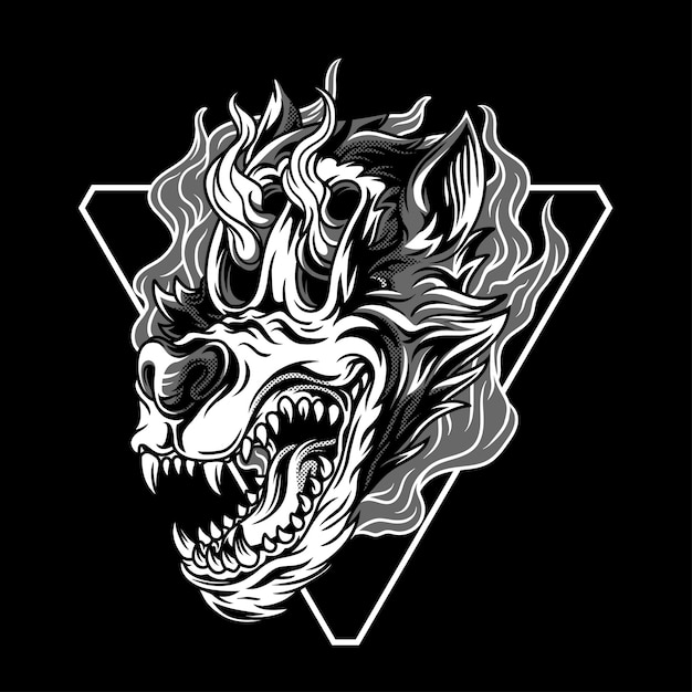 Wolfie, a ilustração imparável em preto e branco Vetor Premium