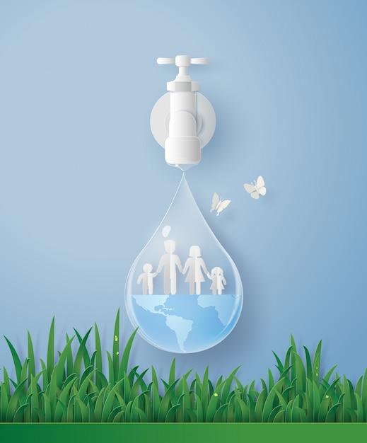Wolrd dia da água com a família. Vetor Premium