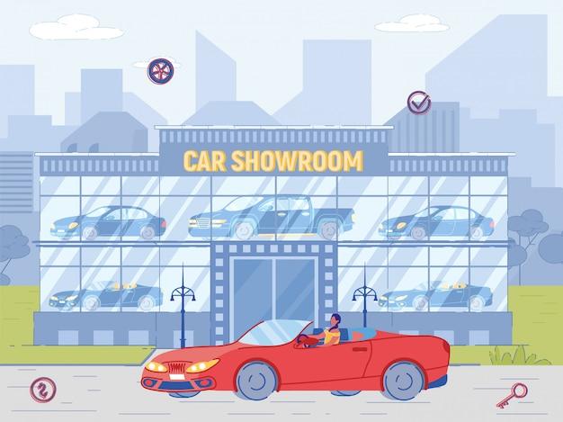 Woman buyer drive cabriolet de luxo perto de showroom Vetor Premium