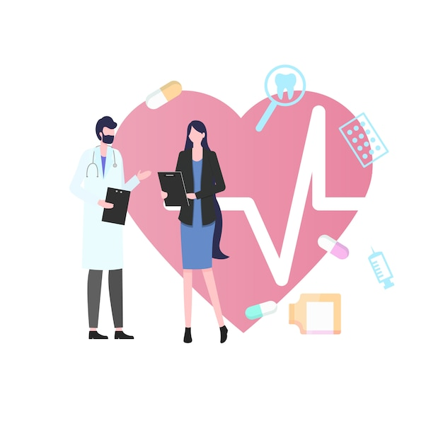 Woman patient man doctor com consulta médica de estetoscópio Vetor Premium
