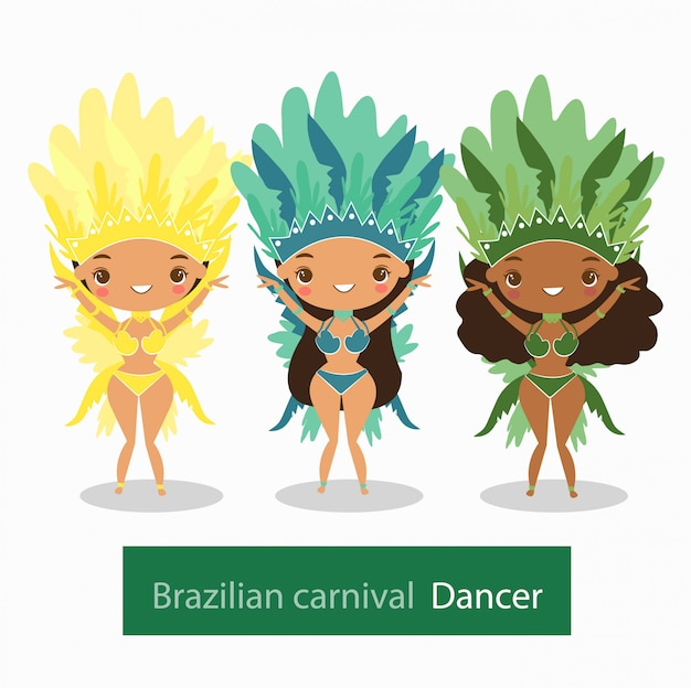 Womens em roupa de dançarina de carnaval brasileira Vetor Premium