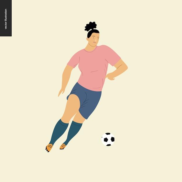 Womens futebol europeu, jogador de futebol - ilustração do vetor plana de uma jovem mulher vestindo equipamento de jogador de futebol europeu chutando uma bola de futebol Vetor Premium