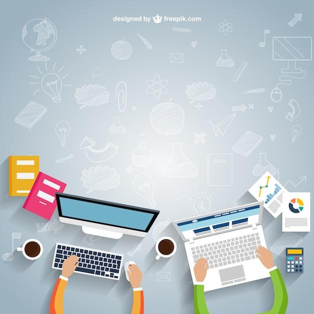 Workspace em estilo cartoon Vetor grátis