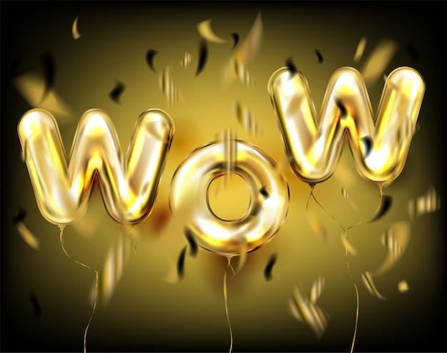 Wow lettering by foil golden balloons on black Vetor Premium