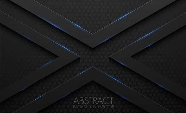 X padrão abstrato 3d fundo preto Vetor Premium