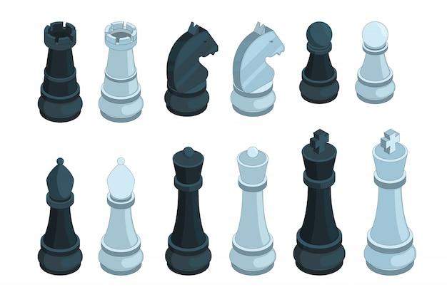 Xadrez isométrico, jogo de tabuleiro figuras peça rainha bispo estratégia 3d conjunto isolado Vetor Premium