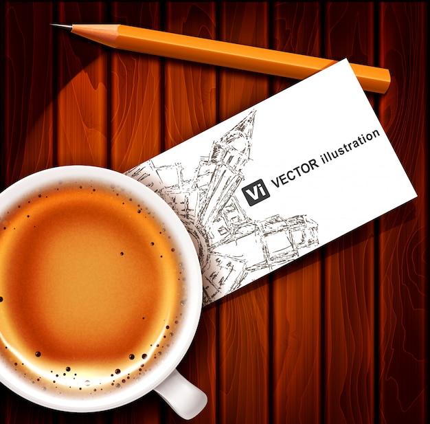 Xícara de café com cartão e lápis sobre uma mesa de madeira. Vetor Premium