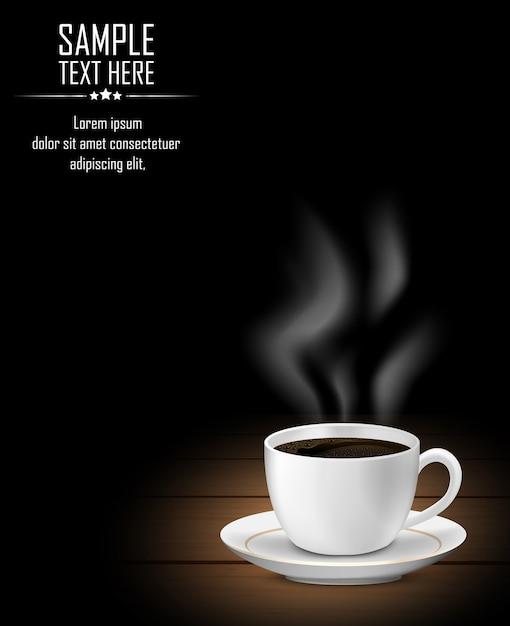 Xícara de café com fumaça na mesa de madeira escura Vetor Premium