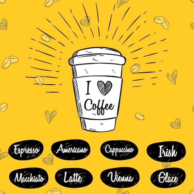 Xícara de café com mão desenhada ou desenho estilo Vetor Premium
