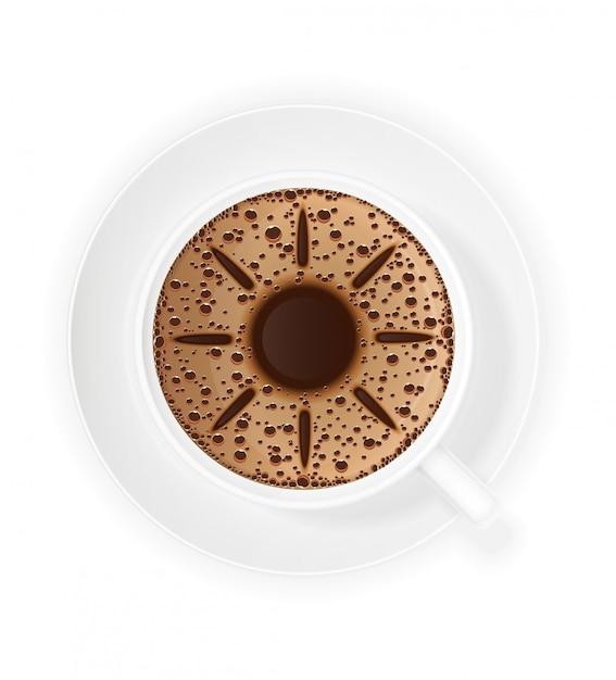 Xícara de café crema e sol símbolo Vetor Premium