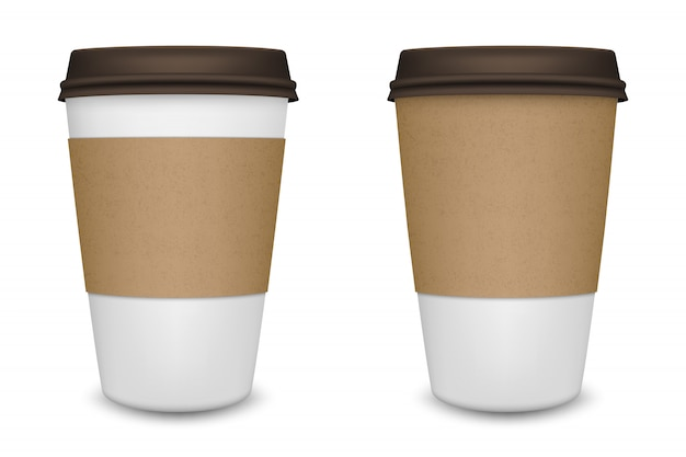 Xícara de café de papel em branco realista em fundo branco. modelo. Vetor Premium