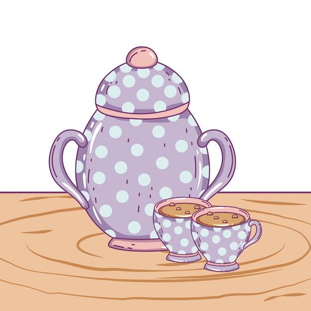 Xícara de café de porcelana e açucareiro Vetor Premium