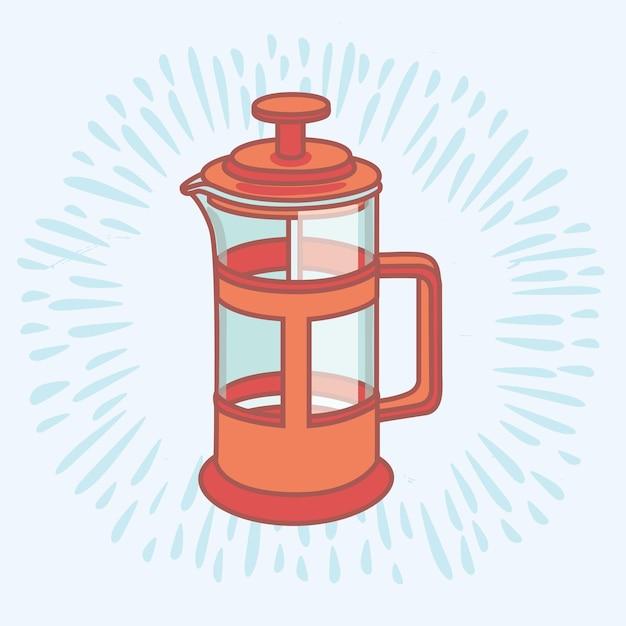 Xícara de café desenhada à mão com giz branco e imprensa francesa no azul Vetor Premium