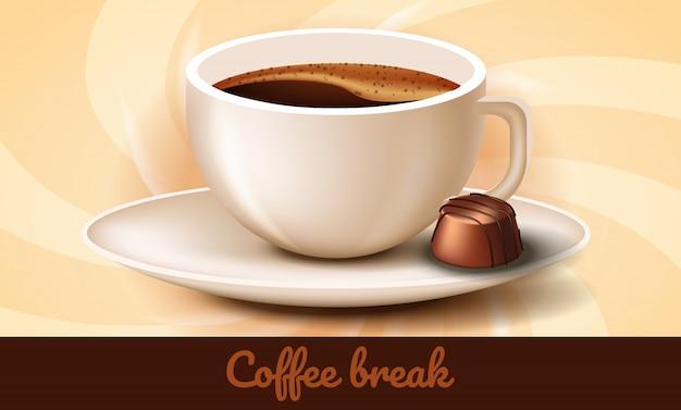 Xícara de café e chocolates no pires. coffee break. Vetor Premium