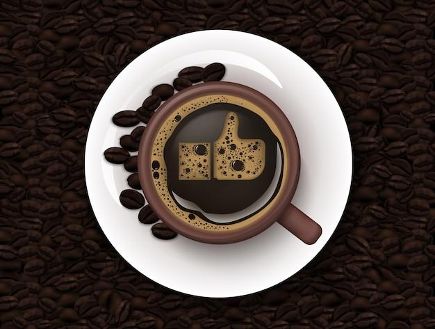 Xícara de café e grãos de café fundo Vetor Premium