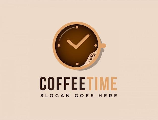 Xícara de café e relógio logotipo Vetor Premium