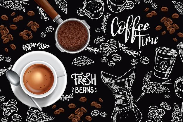 Xícara de café expresso e grãos de café Vetor grátis