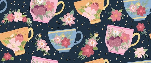 Xícara de chá bonita com flor e folhas padrão sem emenda. caneca elegante vector. Vetor Premium
