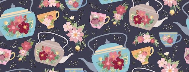 Xícara de chá e bule bonitos com flor e folhas do teste padrão sem emenda. Vetor Premium