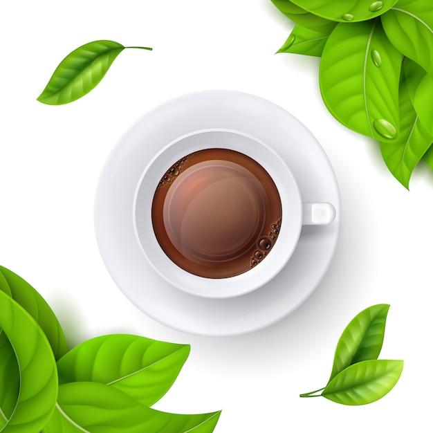 Xícara de chá e folhas Vetor Premium