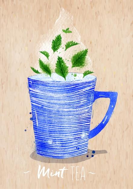 Xícara de chá em aquarela com chá de hortelã de desenho em fundo de papel kraft Vetor Premium
