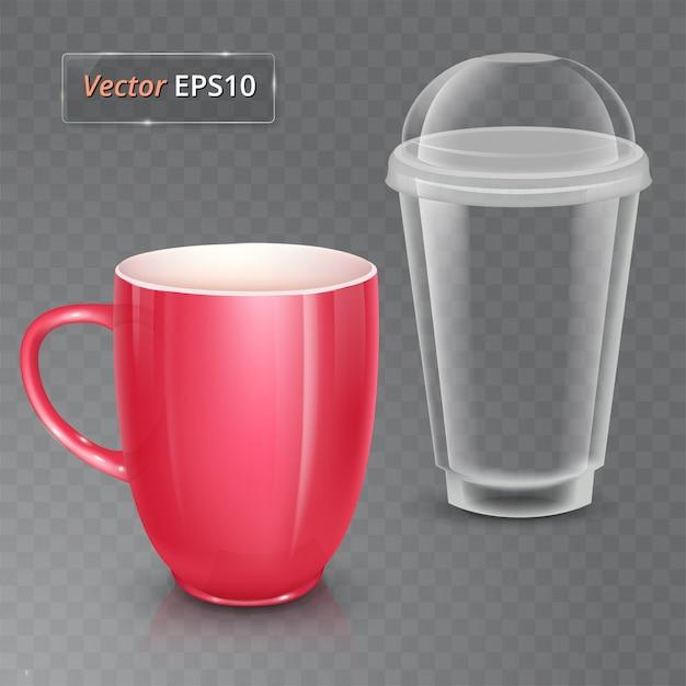 Xícara de chá ou café. copo cerâmico e copo plástico. Vetor Premium