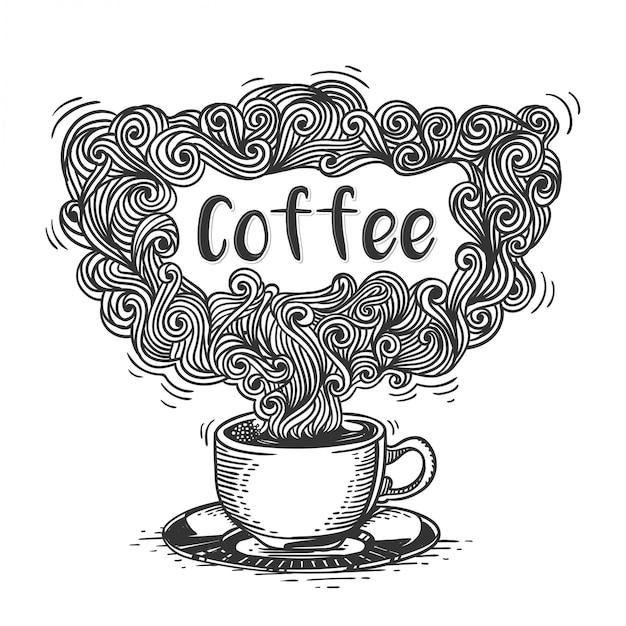 Xícara de ilustração de café Vetor Premium