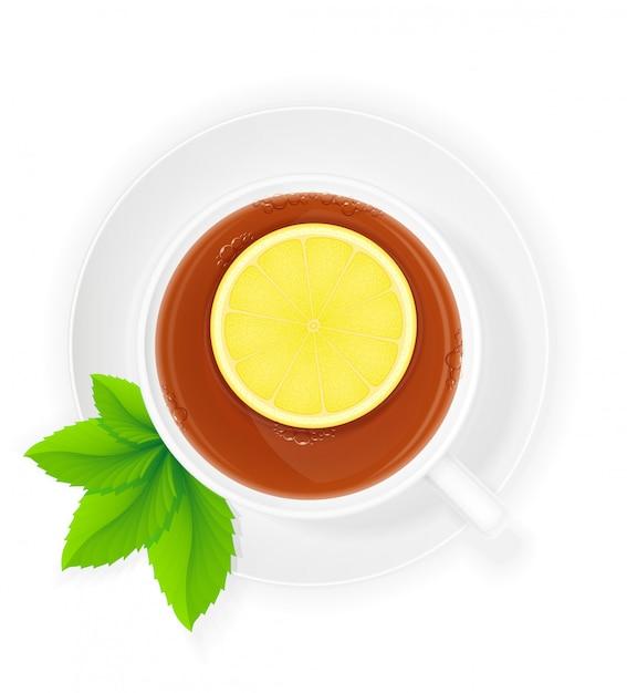 Xícara de porcelana de chá com limão e hortelã ilustração vetorial Vetor Premium