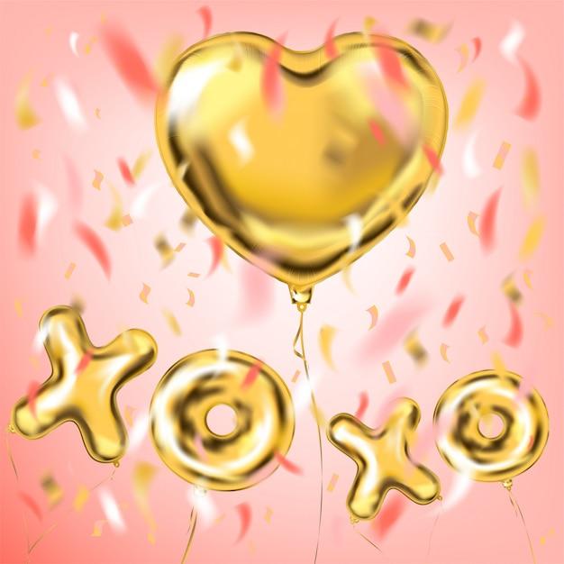 Xoxo e balões de folha de forma de coração para decorações de festa Vetor Premium