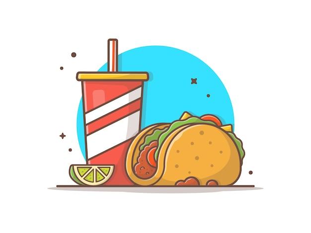 Yaco comida mexicana com limão e refrigerante vector clip-art ilustração Vetor Premium