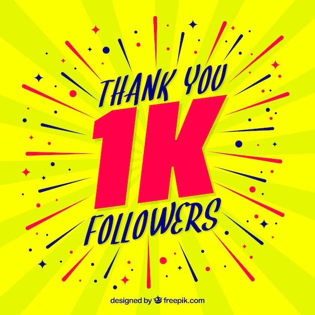 Yellow 1k seguidores de fundo Vetor grátis