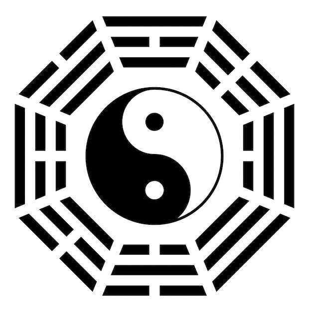 Ying yang símbolo de harmonia e equilíbrio Vetor Premium