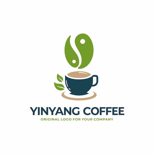 Yinyang café, chá, coleção de design de logotipo de bebida saudável. Vetor Premium