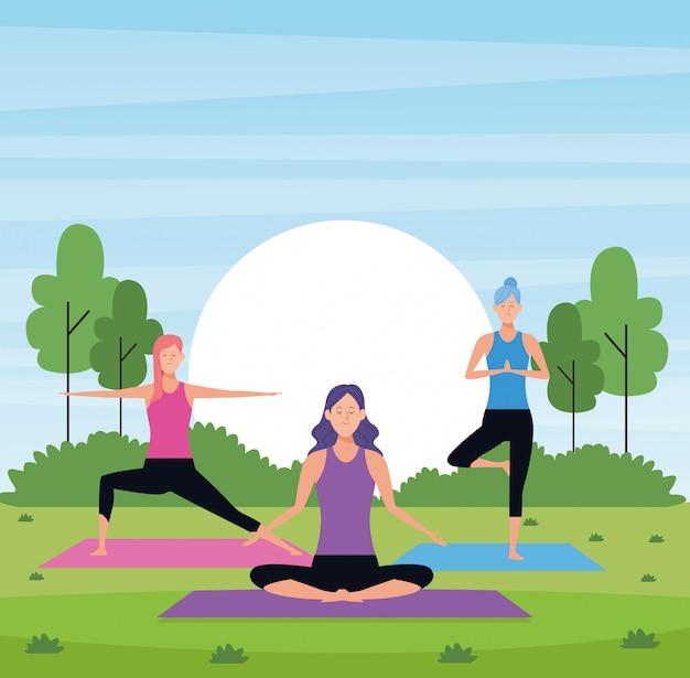 Yoga de mulheres no parque Vetor Premium