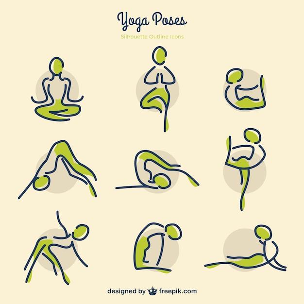Yoga esboços posa com detalhes verdes Vetor grátis