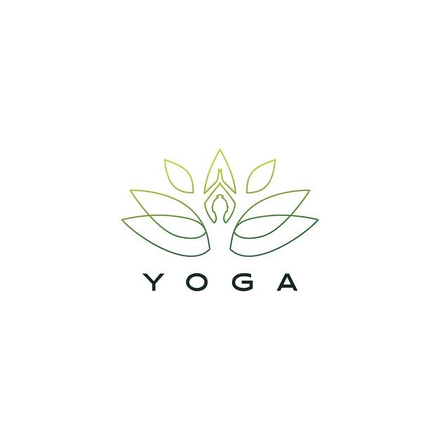 Yoga folha lotus logotipo icon ilustração Vetor Premium