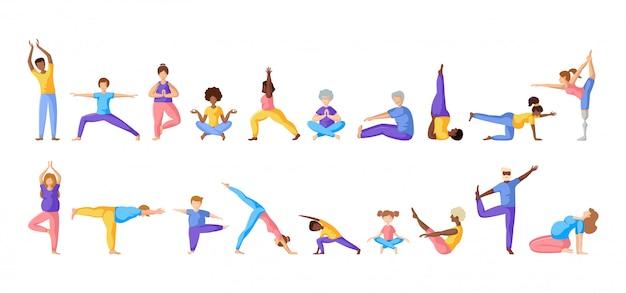 Yoga pessoas diferentes Vetor Premium