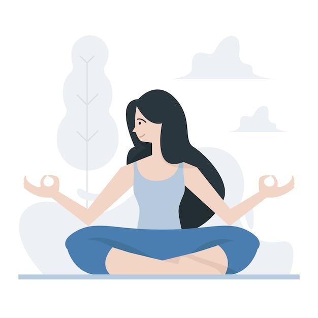 Yoga realizado pose Vetor Premium