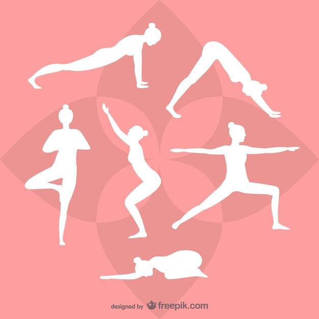 Yoga silhuetas brancas Vetor grátis