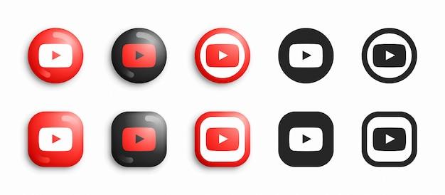 Youtube moderno 3d e conjunto de ícones plana Vetor Premium